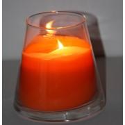 Bougie orange parfumée à la fleur d'oranger coulée dans un vase conique