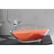 Bougie parfumée coulée dans une coupe ovale en verre