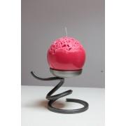 Bougie boule dentelle rouge diam 12 cm